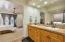 "Master bath custom 39"" height countertops, dual sinks"