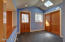 radiant heated floors, oversized storage closet / powder room