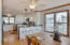 Large open kitchen with bar area