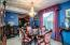 Chandelier does not convey, blue painted walls, new light sand colored carpet, drapes remain