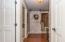 • New hardwood flooring ~ 2015/2016 • Grey painted walls • Ceiling light • Linen closet