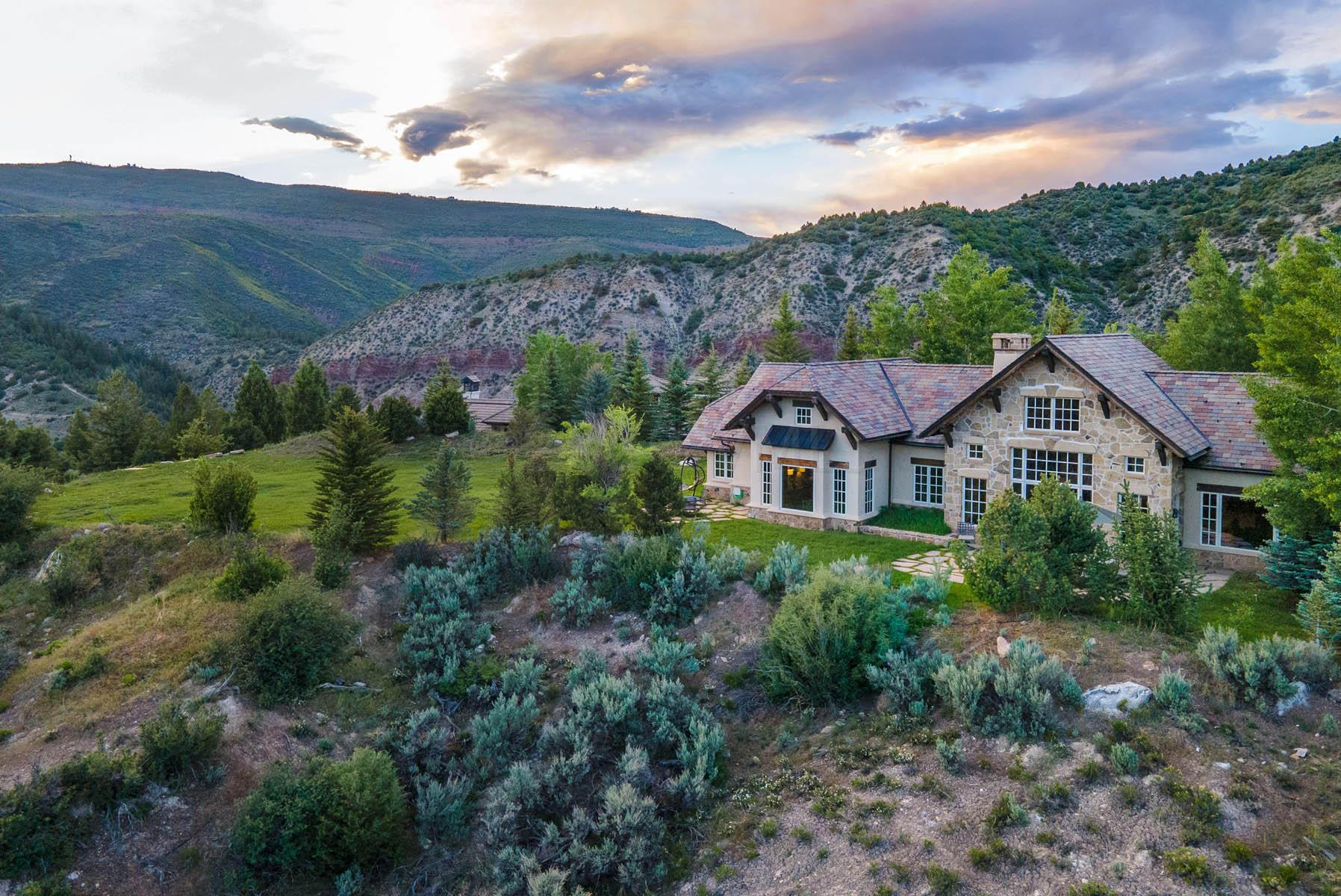 This stunning masterpiece is located at the end of a quiet cul-de-sac on 2 lots spanning 4.6 acres with incredible views. This private residence features several outdoor patios and expansive backyard space to host a multitude  of family activities or events.The open layout on the main level encompasses the master bedroom, office/study that could serve as the 4th bedroom, a wine cellar, overflowing great room which leads into the dining area, and gourmet kitchen with an attached hearth room.  Additionally, each of the main rooms lead to the lush backyard enabling you to entertain seamlessly from inside out.  With the backyard stretching from end-to-end with unobstructed panoramas, enjoy summer nights around the outdoor grill or engage in game nights with family and friends alike.  Completing the upstairs are 2 en-suite bedrooms, branching off the family room with several spacious closets for ample storage space. Enjoy multi-level living in this gorgeous, custom home with vaulted ceilings and stone accented walls throughout. For an additional $25K, you can purchase most furnishings & furniture. Visit the unbranded property website, mls.CordilleraDivide.com for additional details.