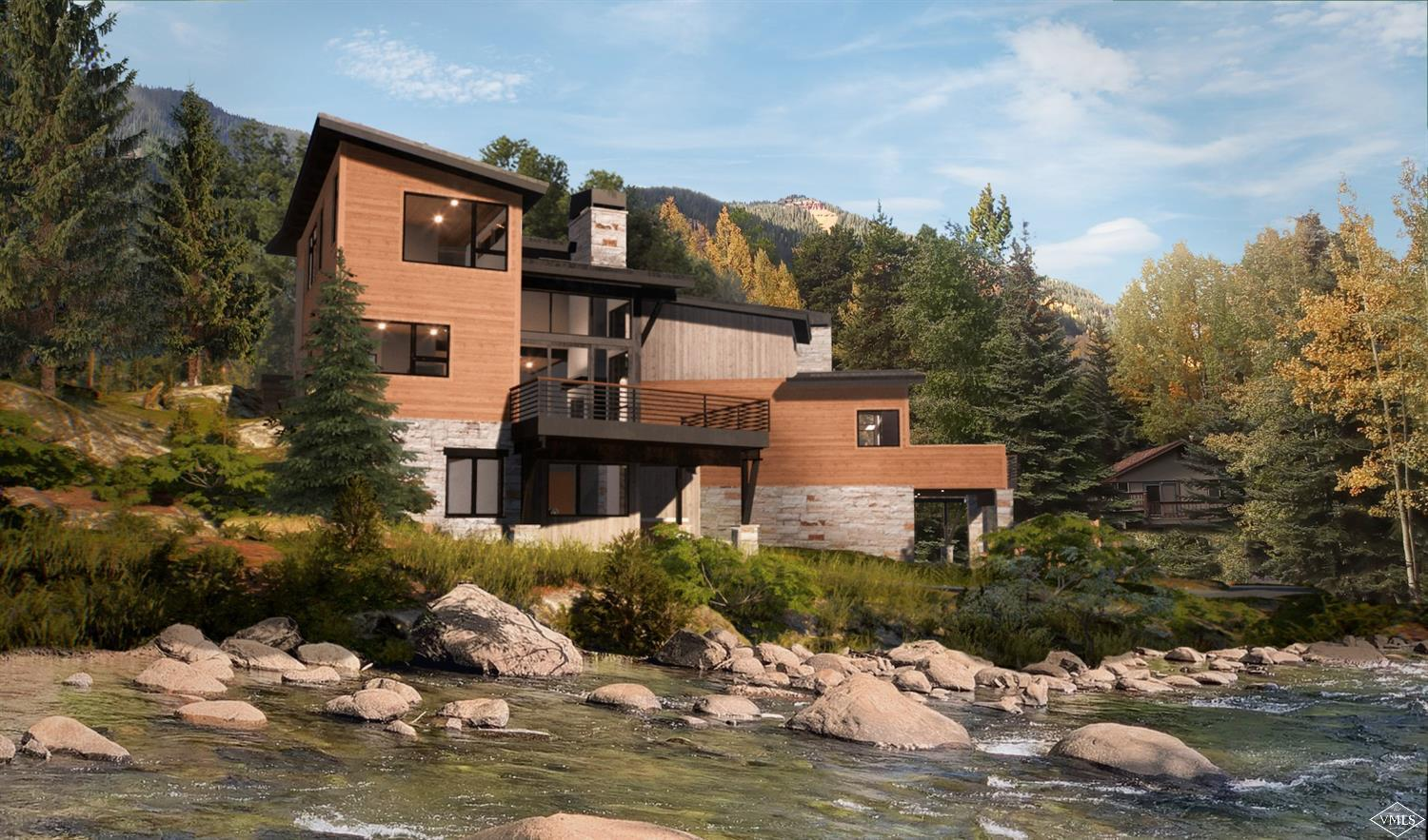 Creekside new construction in East Vail to be completed in October 2020! Enjoy the sounds of Gore Creek while taking in the views of Bald Mountain from this mountain modern half-duplex currently under construction.