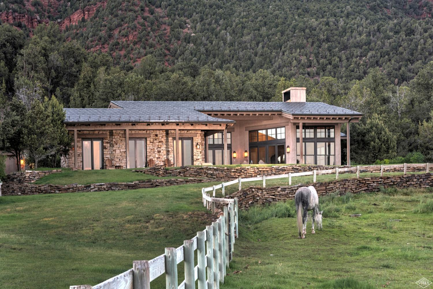 Gorgeous Colorado ranch with unobstructed mountain views, 37+ useable acres, ranch-style home with an incredible open concept floor plan. Vaulted ceiling, all bedrooms on main floor; 3-car heated garage, 4+ fenced pastures with all year heated water sources. Large barn with storage area and a plumbed area for caretaker unit and 4 indoor/outdoor stalls, truly one of the best horse properties in all of Eagle County.