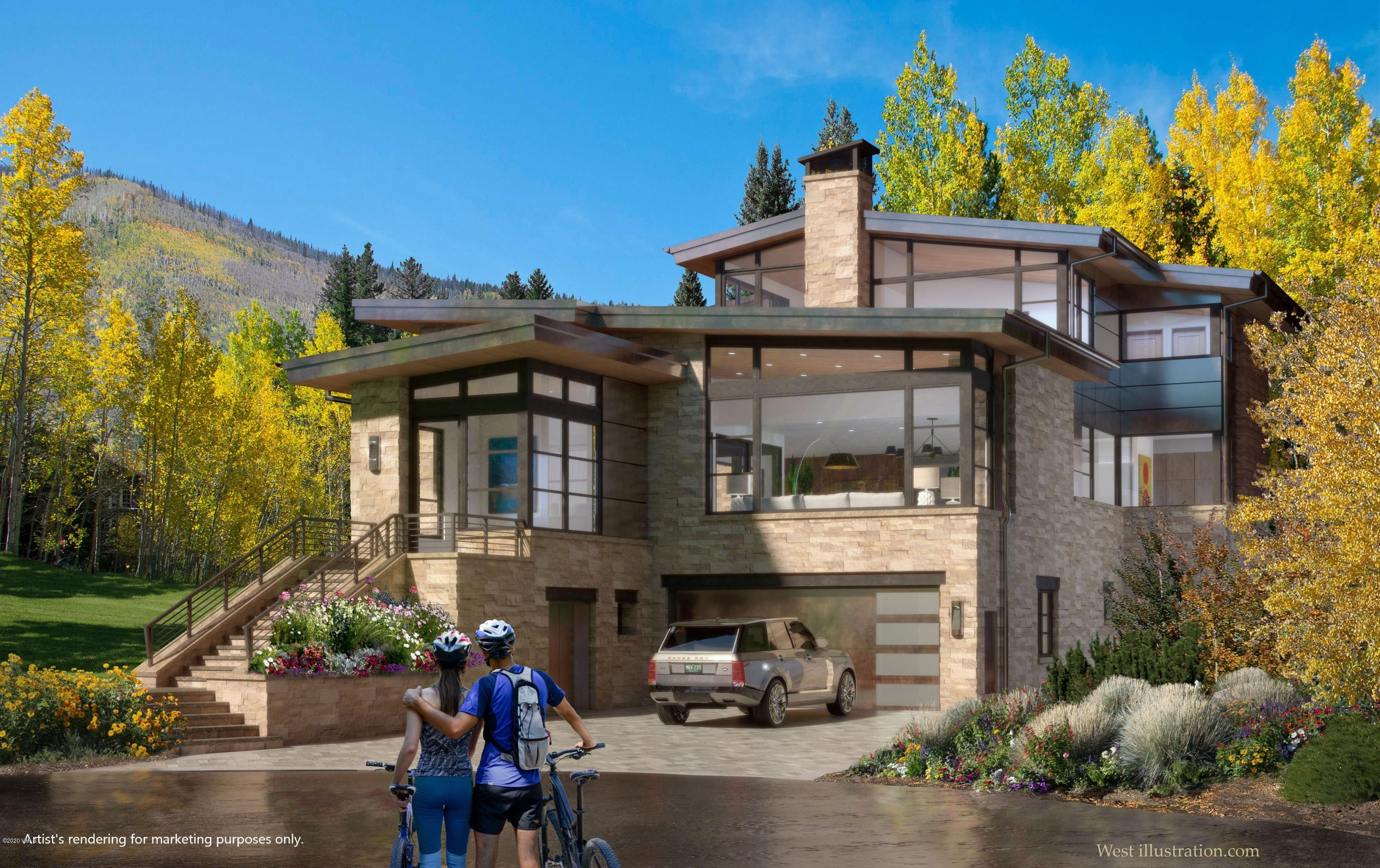 Turnipseed Architecture and Construction develops another new construction trophy home. Located on the prestigious and private Hornsilver Circle and convenient to Vail Village. Stunning soft contemporary design with sun-filled rooms, featuring 7 bedrooms all with en-suite baths. Expansive and thoughtful floor plan with an open grand great room, kitchen and dining room with an adjacent hearth room and spacious walk-in pantry on the main level with a large deck and perfect southerly views of the surrounding mountainside and ridge lines. Private upper-level primary suite featuring picturesque Gore Range views with a study, sitting/hearth area, stone fireplace, custom closet with laundry and beautiful bathroom. Spacious lower-level family room with wet bar perfect for family gatherings and apres-ski entertainment. Residence has air conditioning; elevator; laundry on all levels; heated driveway with over-sized exterior parking; copper roof; large side yard with sunken hot tub; beautiful landscaping. Estimated date of completion, Spring 2021.