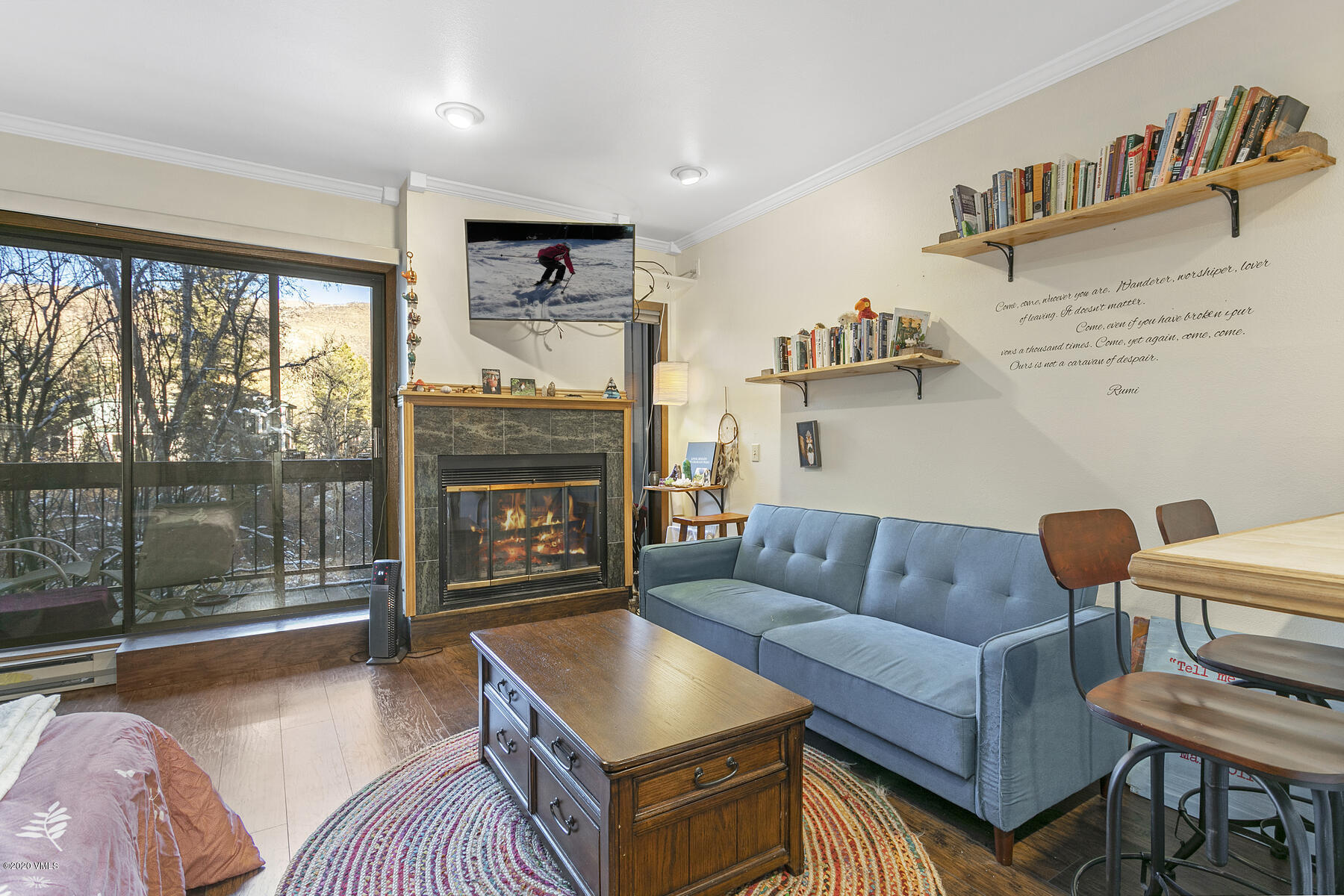 Furnished studio, with river views at a terrific value. Located on the bus route, and bike path, just minutes to Beaver Creek or Vail, including pool, hot-tub, and covered parking for two (one assigned and one guest pass). Wood floors, fireplace, balcony overlooking river, and a newer Murphy bed that stores with ease, opening up the space for lounging and entertaining. Short-term rent, or long-term occupy.  Shopping and dining options are all within close reach. Includes a full bath, and fair-sized kitchen with potential to expand and upgrade.  In-residence laundry, and an exterior gear closet make this a convenient condo to come home to, after a great day in the mountains. Eagle-Vail neighborhood amenities include tennis courts, pump track, playground, sledding hill, neighborhood pool, and parks.