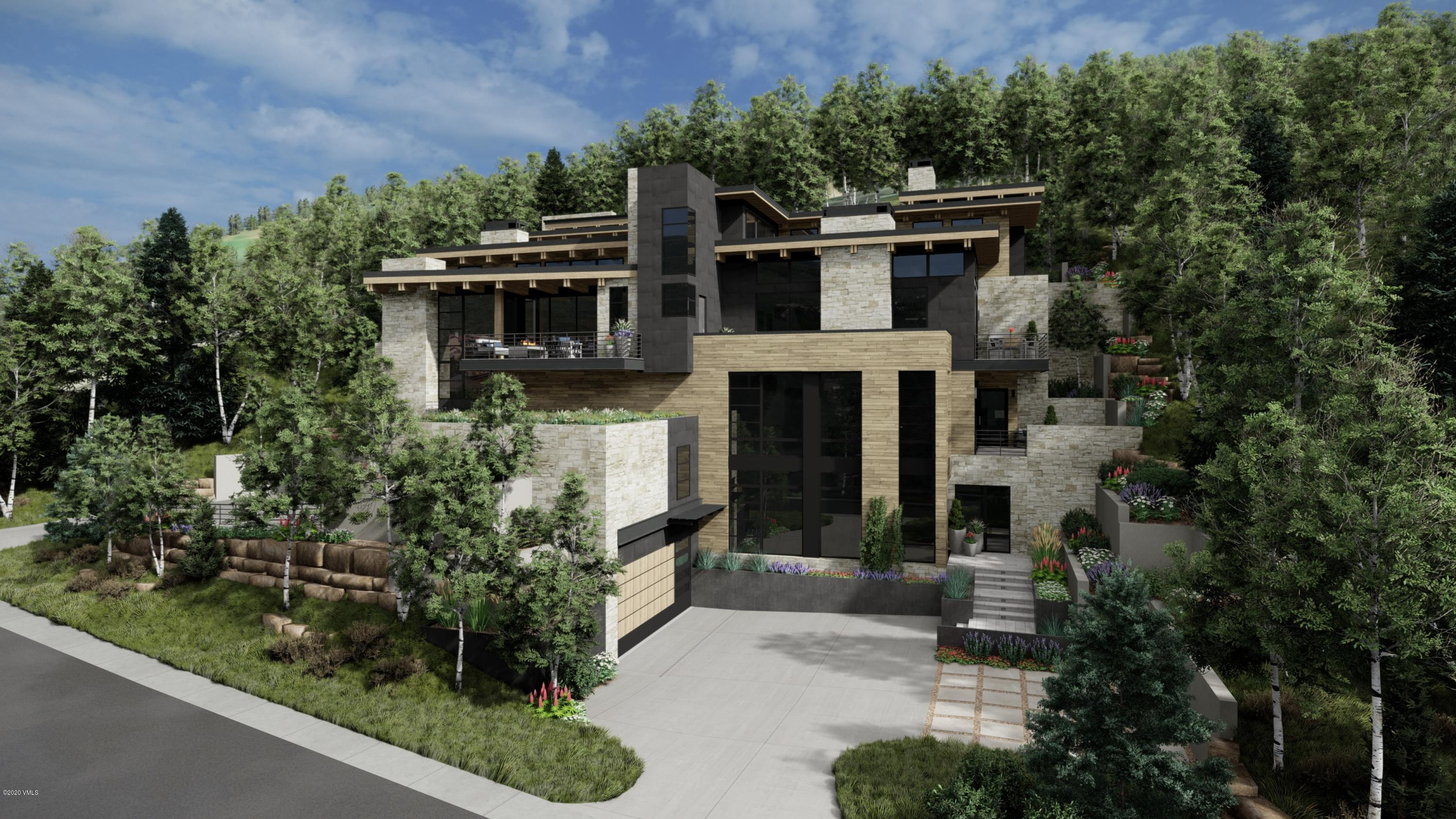 Rare opportunity to own a new construction, mountain contemporary home on the highly coveted Forest Road in Vail. Designed by Kyle Webb and built by Paragon Homes, Inc., this home offers unparalleled luxury, craftsmanship and sophistication. This modern mountain retreat features a warm aesthetic with elements of wood and stone used throughout and defined clean lines. Grand glass walls harness breathtaking views of the surrounding mountains, woodland and village of Lionshead. Located approximately 500 feet from the Born Free ski run, the location is prime especially for those that love tree skiing or for those who wish to briefly ski down to the  Lionshead Gondola which is only about 600 feet away. Encompassing 5,995 SF of living space, there are five bedrooms, six bathrooms and several outdoor patios.  With the driveway and all deck surfaces heated efficiently, all will enjoy the beauty of the outdoor dining area year-round. The refined kitchen with gorgeous Italian cabinetry and state of the art appliances open up to the living and dining areas. With elevated views, sun filled interiors, this open floorplan masterfully accommodates for entertaining and family fun. Offering four levels of luxurious living, every room is an experience in and of itself with spectacular attention to detail. The main-level master bedroom was designed to provide ultimate privacy, while still encapsulating the beauty of the outdoor landscape with its own spacious patio and surrounding aspen trees. After a day of skiing Vail's world-famous powder or hiking in the White River National Forest, drop off your gear in the mudroom outfitted with built-in ski racks, cabinets, boot dryers, and shelving before heading upstairs for endless respite options. Nestled mountainside, enjoy the mountain-chic architecture that is luxurious, yet inviting for your family and guests to enjoy. Estimated completion February 2022. Please visit mls-672.ForestRoadLuxury.com for complete details.