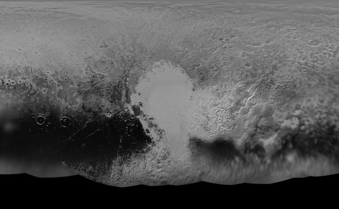NASA's New Horizons mission science team has produced this updated panchromatic (black-and-white) global map of Pluto. Credit: NASA/JHUAPL/SWRI  Read more at: http://phys.org/news/2016-05-scientists-fresh-global-pluto-comprising.html#jCp