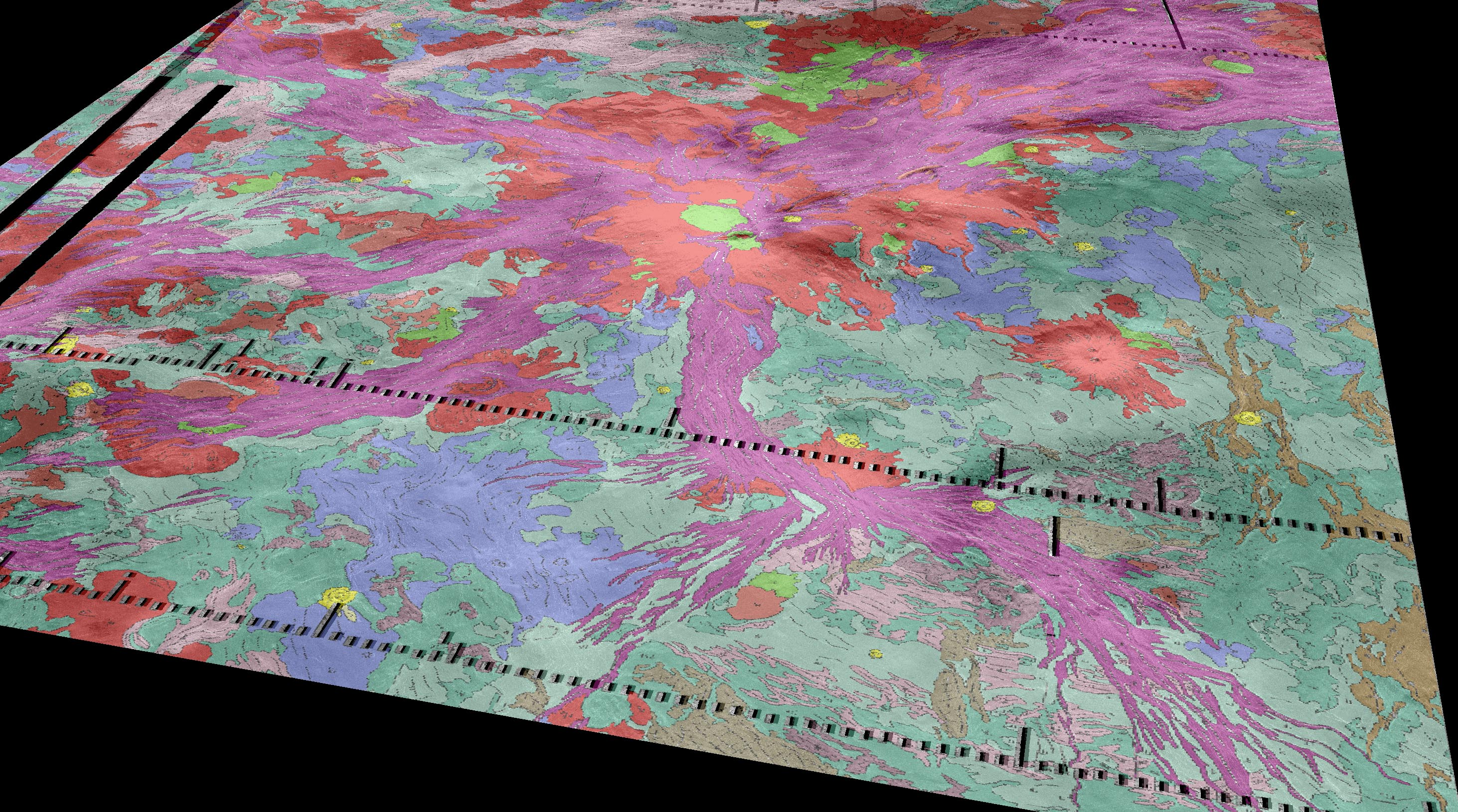 Volcanoes on Venus. This perspective view of the geology of Venus superposed on topography shows a broad topographic rise (Atla Regio) in the center (red, with radiating purple spokes) and surrounding volcanic plains (green and blue)