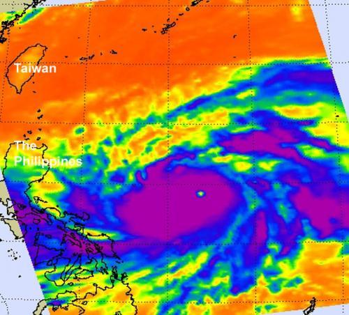 NASA sees Sanba become a super typhoon