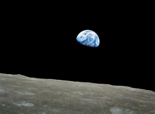 This NASA image shows the first color image of the Earth taken by the Apollo 8 astronauts on December 24, 1968