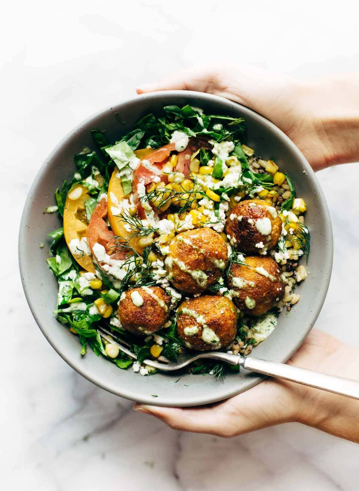 Summer Bliss Bowls with Sweet Potato Falafel and Jalapeño Ranch - you will not believe how easy this 5 ingredient falafel is!   pinchofyum.com