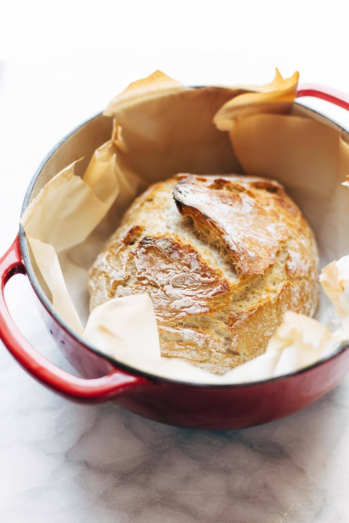 Miracle No-Knead Bread! this is SO UNBELIEVABLY EASY. crusty outside, soft and chewy inside - perfect for dunking in soups!   pinchofyum.com
