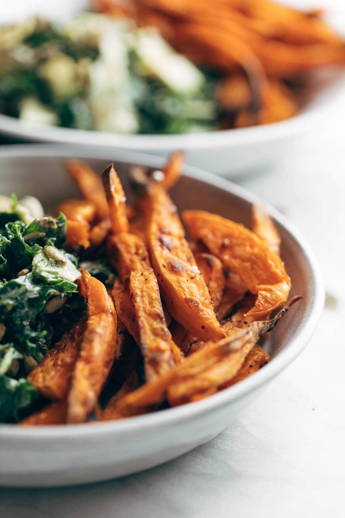 Sweet potato fries in bowl.