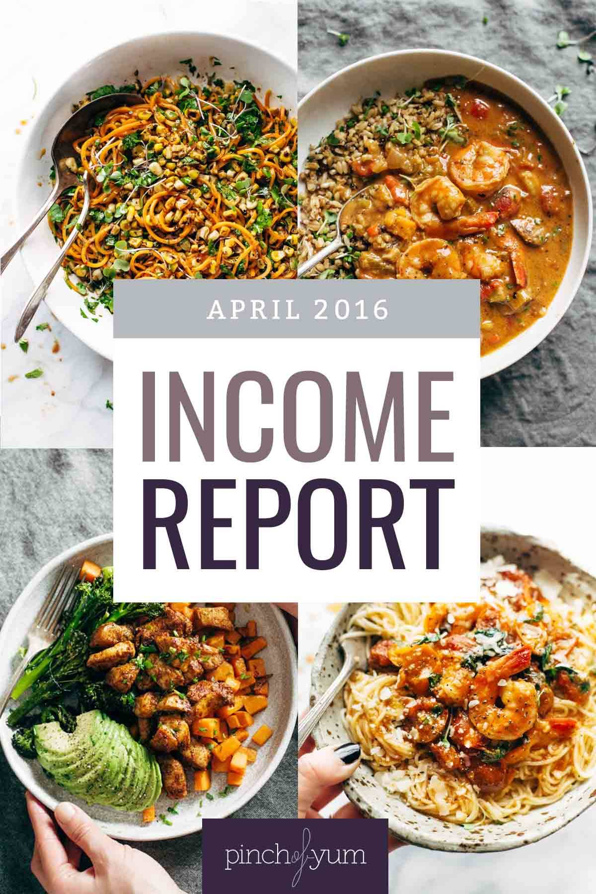Traffic and Income Report April 2016 | pinchofyum.com