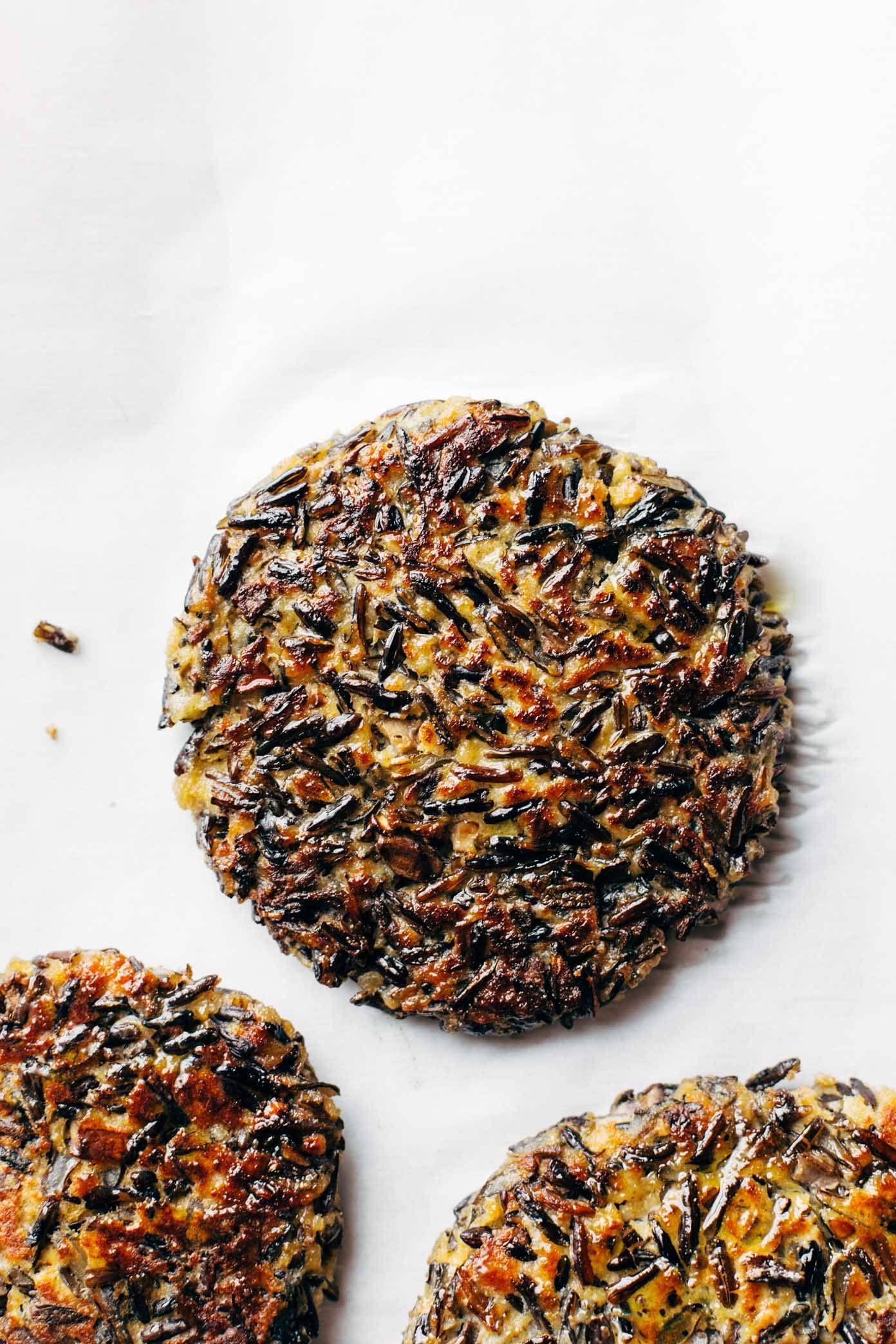 Wild Rice Burgers - 6 ingredient veg burgers! works on a bun, with cheese, or completely naked. so yummy! | pinchofyum.com