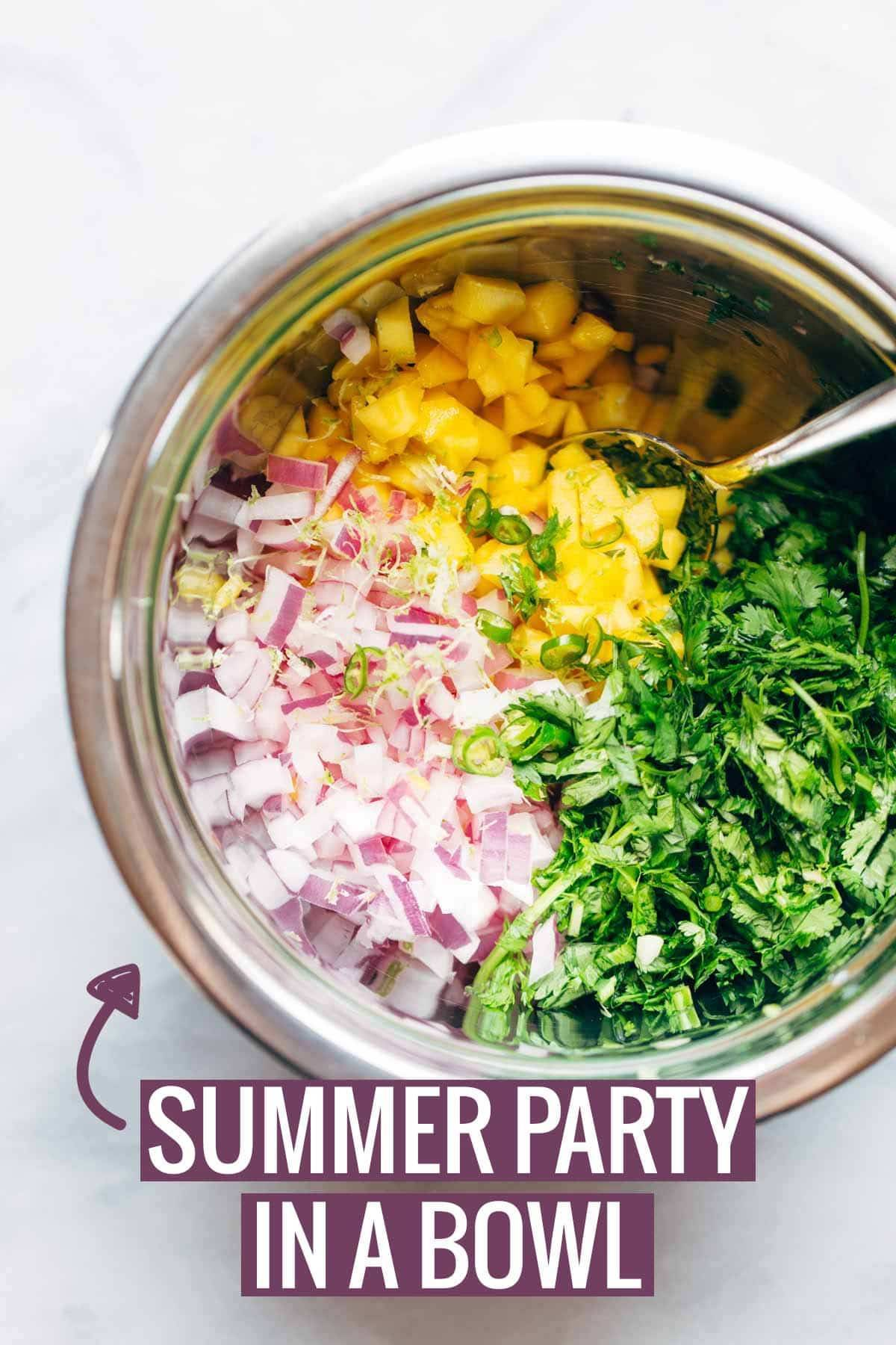 summer party in a bowl with text