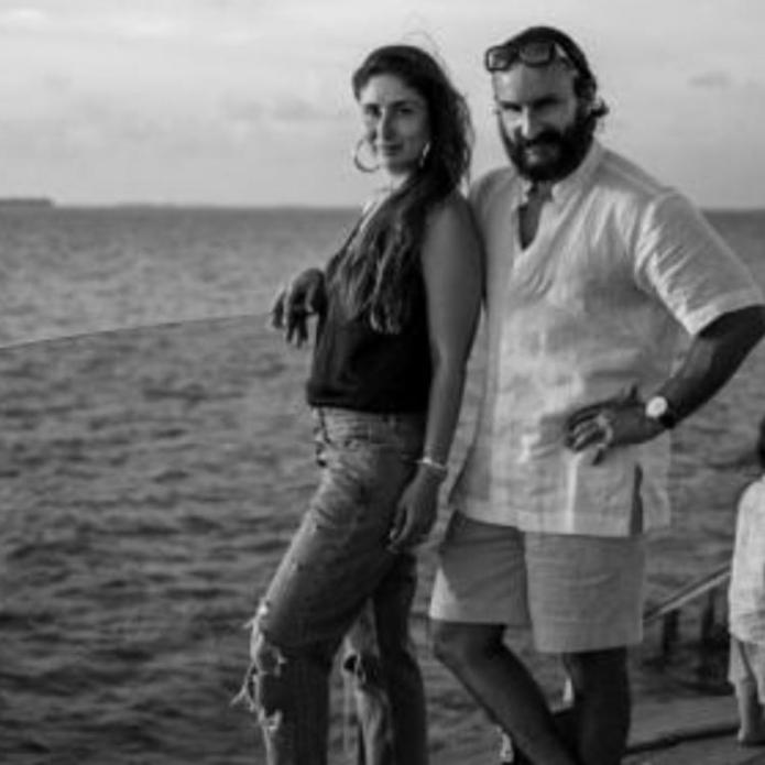 Kareena Kapoor Khan and Saif Ali Khan strike a picture perfect pose by the sea as Taimur seems busy