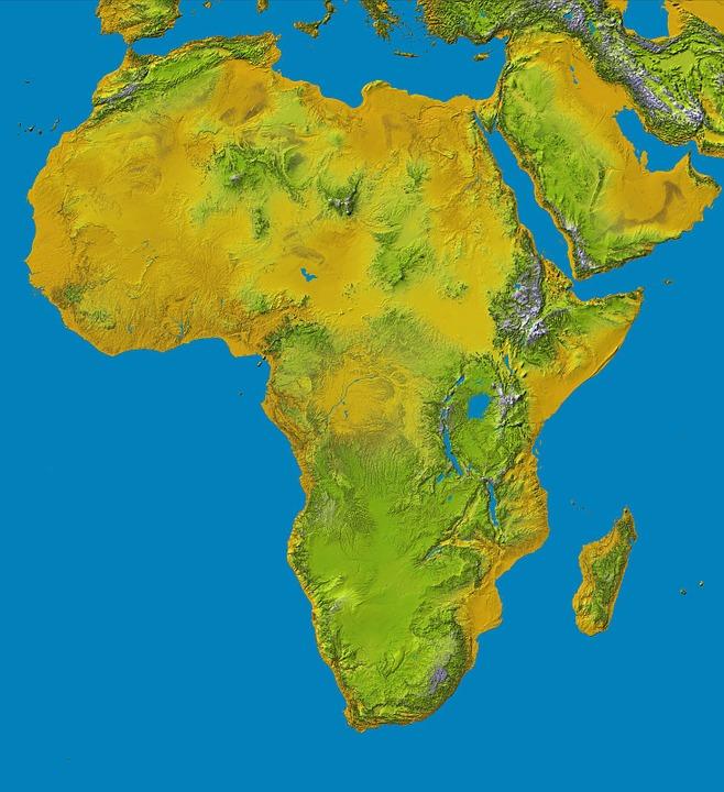 Kostenlose Illustration Afrika Karte Relief Landkarte