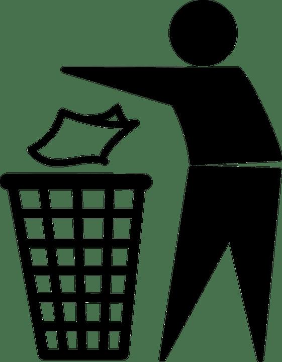 Homem, Jogando, Lixo, Limpeza, Caixote Do Lixo, Lixeira