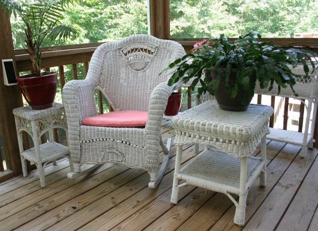 Wicker Rocking Chair, Porch, White Table, Wicker, Home