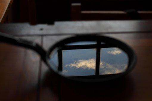 フライパン, 空, 雲, 青い空, キッチン, 反射, ミラー, 水