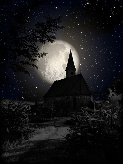 Free Photo Church Moon Night Shadow Star Free Image