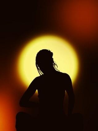 Silhouette, Woman, Meditation, Interior