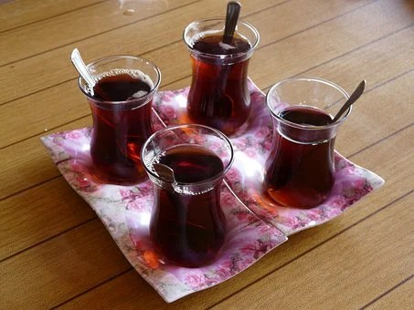 Tea, Turkish Tea, Drink, Glass, Spoon, saucer