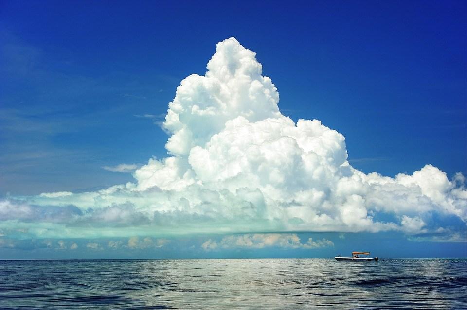 Zee, Cumulus Wolk, Boot, Wolken, Mariene, Oceaan, Hemel