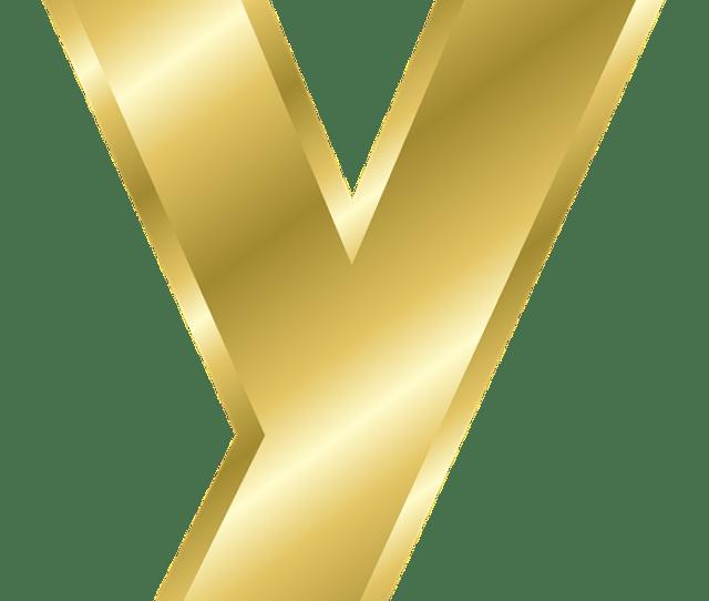 Letter Y Lowercase Alphabet Abc Gold Gradient
