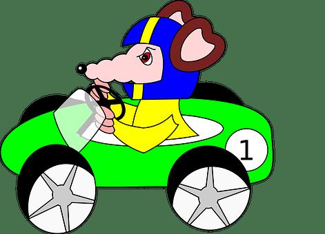 Rat, Car, Racing Car, Green, Cartoon