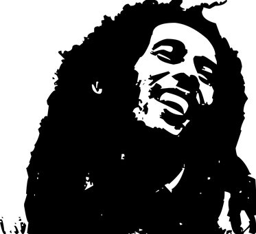 A silhouette of the bust of smiling Bob Marley