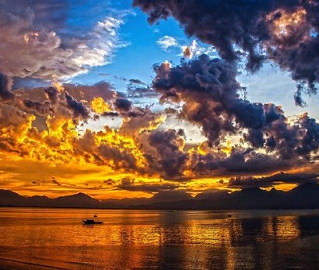 Boat Sundown Sunset Sky Clouds