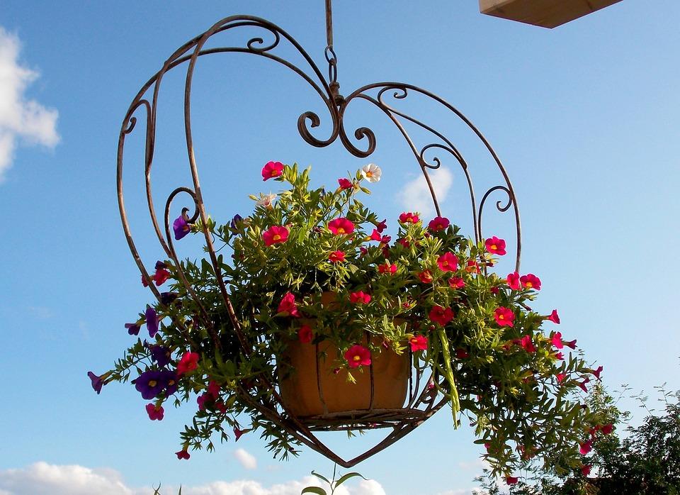 外装装飾, 装飾, 掛かるバスケット, 花ハート, バルコニー, テラス