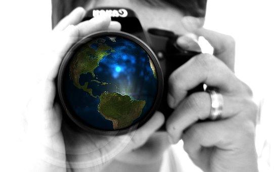 女性, カメラ, 手, レンズ, 地球, グローブ, アメリカ, 米国