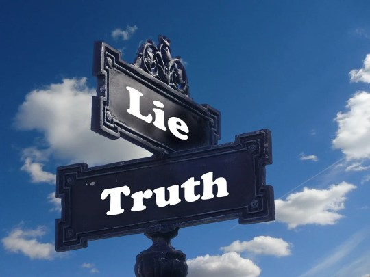Truth, Lie, Street Sign, Contrast, Contrary, Note