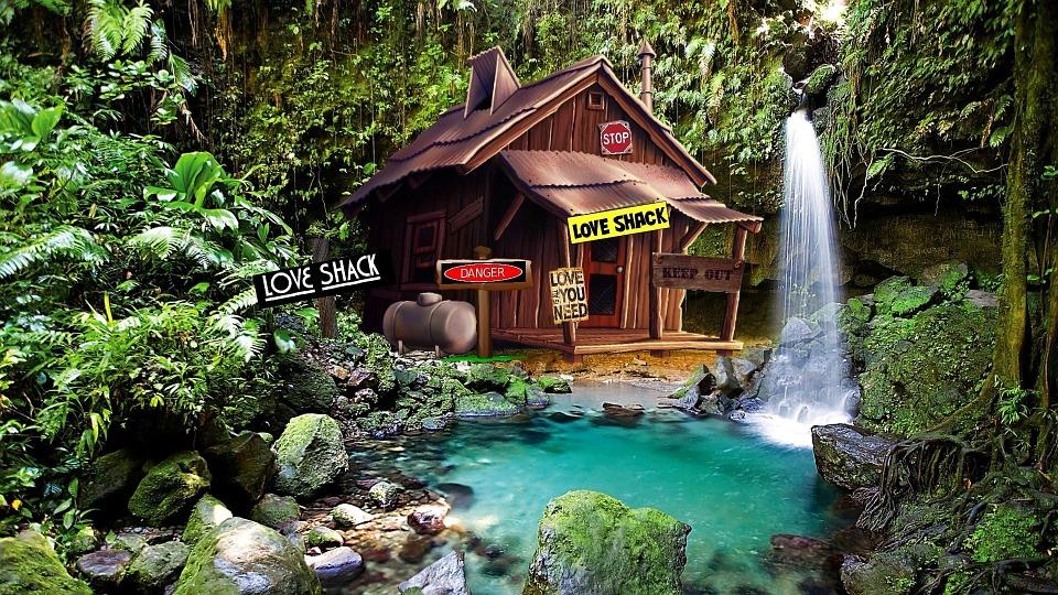 Free Illustration Shack Cabin Woods Lagoon Free