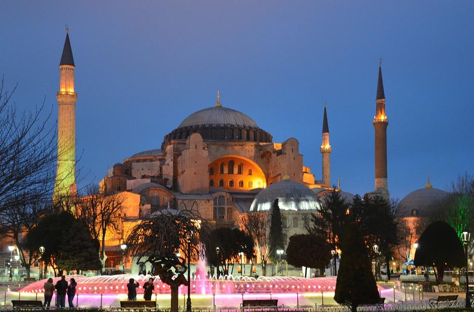 Hagia Sophia, Ayasofya, Night, Sky, Blue, Minaret
