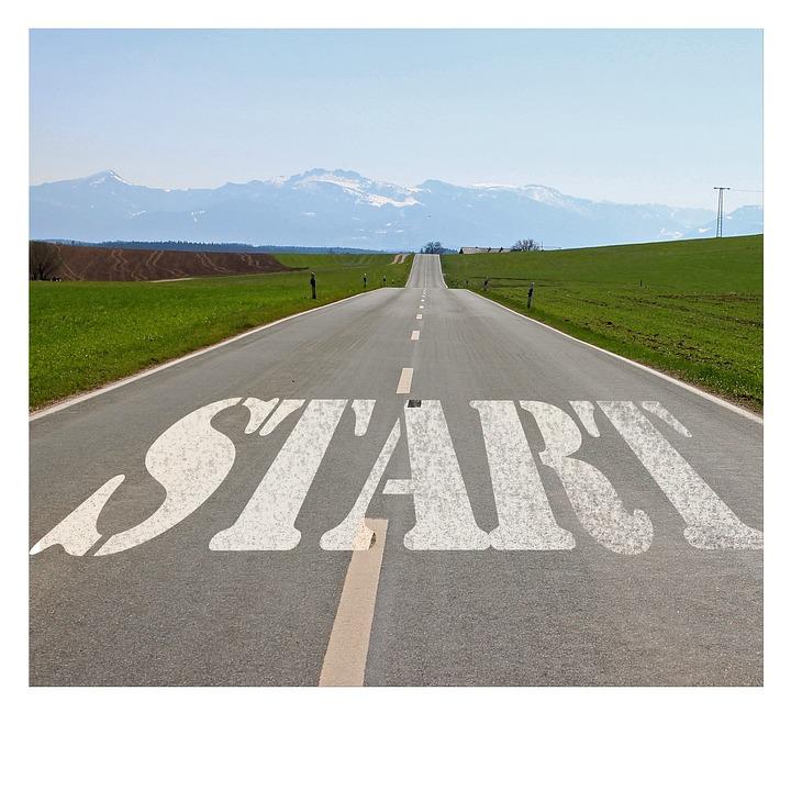 道路, 開始, 初め, 意図, 工場, 停止, デザイン, アイデア, コンセプト, 概念, 計画