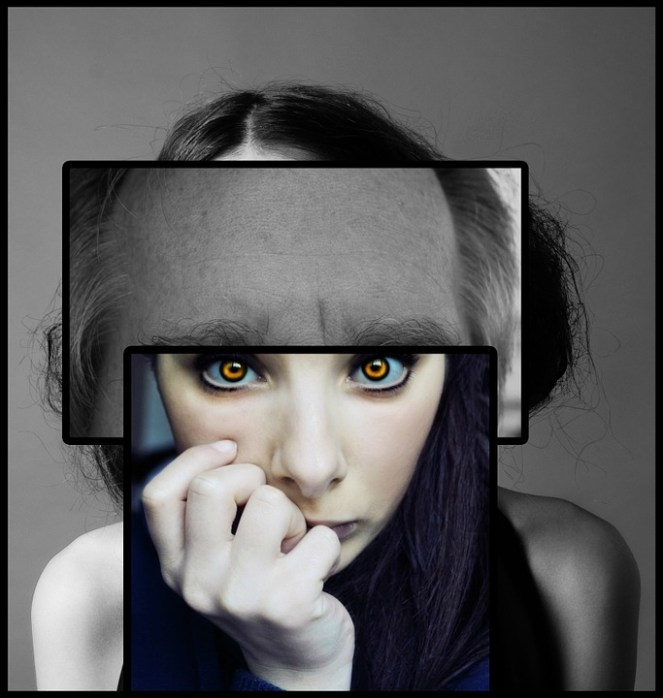 Esquizofrenia, Psicologia, Mulher, Face, Olhos, Psique