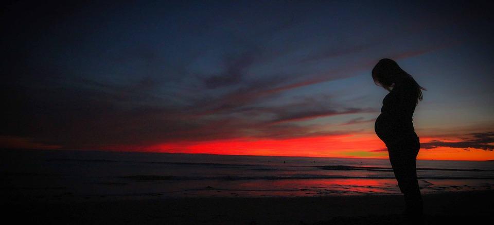 Pregnant, Beach, Sunset, Mother, Pregnancy, Woman