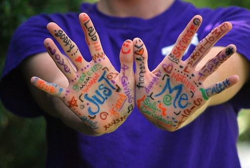 Hands, Words, Meaning, Fingers, Colorful