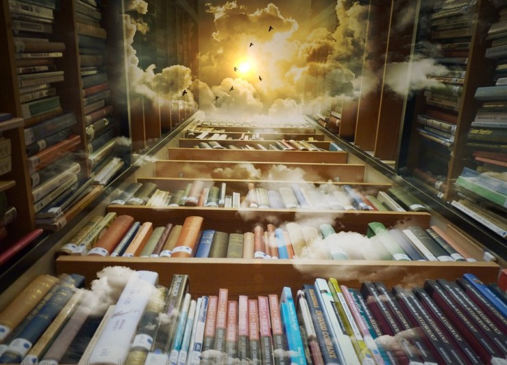 Library, Sky, Birds, Mystical, Clouds, Sun, Fantastic