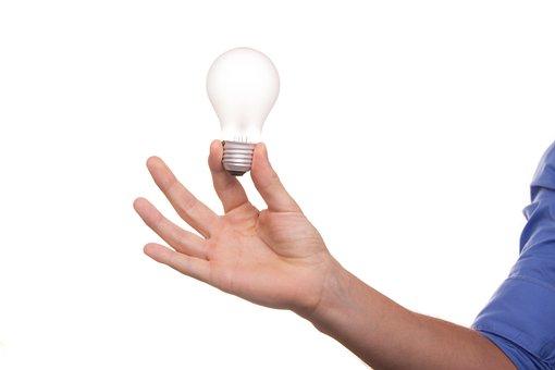 ランプ, アイデア, 西洋ナシ, ビュー, 考え, 霊感, 電気, エネルギー