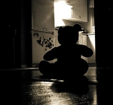 Teddy Bear, Silhouette, Evil, Night