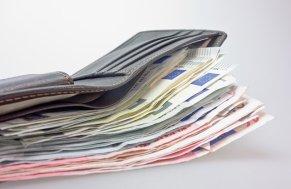 Geld, Geldbörse, Geldscheine, Euro Kreditanfrage.