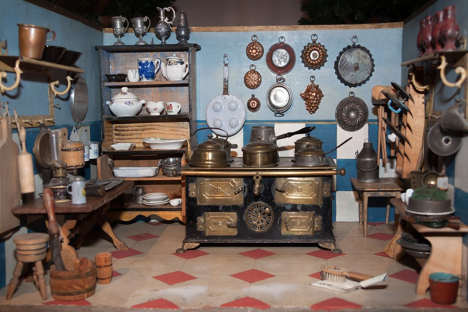 Dolls Kitchen, Toys, Old, Antique, Play, Stove, Kitchen