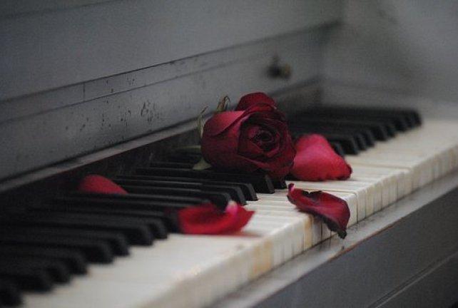Piano, Rose, Red, Flower, Love, Romance