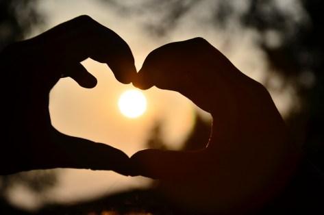 ハート, 暖かい, 光と影, 美しい, 手, アイコン, 愛